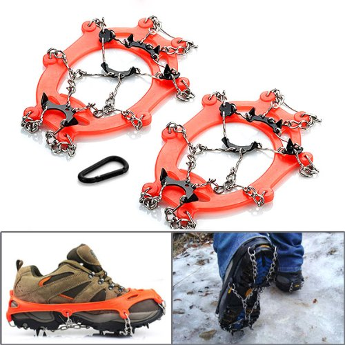 2x Universal Non Slip 8 Metal Teeth Ice Cleats Shoe Boot Traction Crampon Steel Chain Spike Sharp Snow Walker Hiking US Size 5-10 + Waterproof Storage Carrying Case Pouch + Carabiner