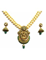 Shingar Jewellery Antique Gold Kundan Finish Temple Jewellery Set In Green For Women (7370-as-a)