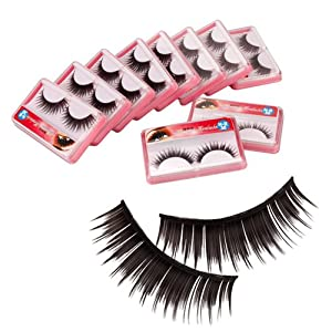 10 Pairs Black Thick False Eyelashes Eye Lash with Glue Hr-30