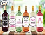 "Wine Bottle Labels ● Bachelorette Party ● Bridal Shower ● Wedding Engagement Gifts ● Bridesmaids ● Marriage ● Set of 6 Adhesive Labels ● 4"" x 5"" inches"