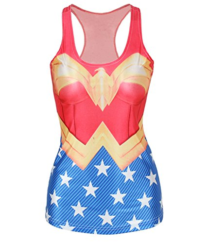 Zanuce Fashion Women Wonder Woman Cape Printed Sleeveless