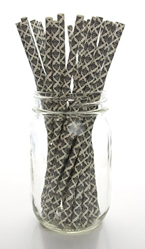 Black Floral Damask Straws (25 Pack) - Formal Classic Wedding Straws, Anniversary / Graduation Flower Paper Straws, Swirl Damask Party Straw Supplies