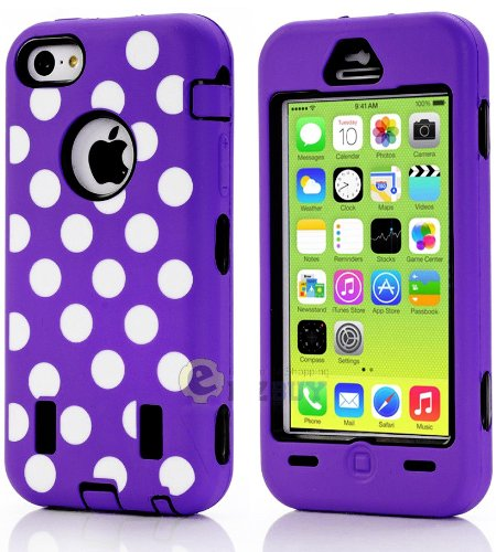 Mylife (Tm) Black + Purple Polka Dotted Style 3 Layer (Hybrid Flex Gel) Grip Case For New Apple Iphone 5C Touch Phone (External 2 Piece Full Body Defender Armor Rubberized Shell + Internal Gel Fit Silicone Flex Protector + Lifetime Waranty + Sealed Inside