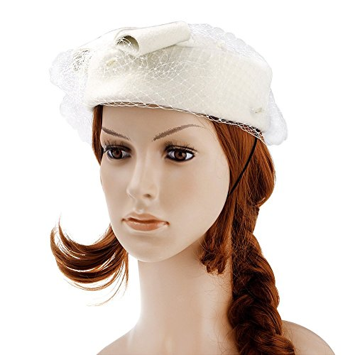 Vbiger Women's Fascinator Wool Felt Pillbox Hat Cocktail Party Wedding Bow Veil (Ivory)