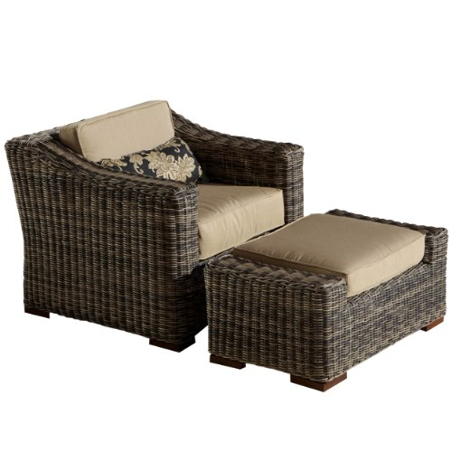 RST Outdoor OP-PECLBO-RES-WG-K Resort Collection Club Chair/Ottoman Rattan Patio Furniture Set, Grey