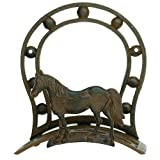Western Horse Hose Holder, Rustic Cast Iron, Fancy Wall Hanger Reel, 12-inch