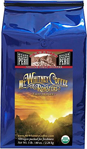 Mt. Whitney Coffee Roasters: 5 Lb. Usda Certified Organic, Shade Grown Peru, Medium Roast, Whole Bean Arabica Coffee