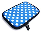 Emartbuy Polka Dots Blue / White Water Resistant Neoprene Soft Zip Case/Cover suitable for NATPC M009S 7 Inch ( 7 Inch Tablet )