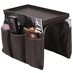 Pu Leather And Wood Remote Caddy,magazine Storage