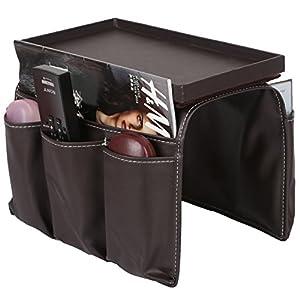 PU Leather and Wood Remote Caddy,magazine Storage ...