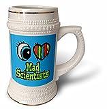 Dooni Designs Eye Heart I Love Designs - Bright Eye Heart I Love Mad Scientists - 22oz Stein Mug (stn_106268_1)