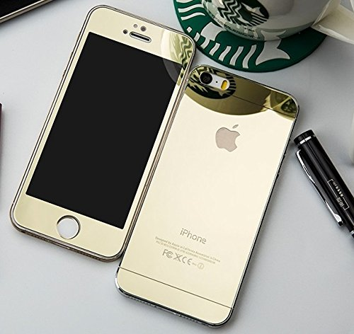Kapa EElectroplated Mirror Front + Back Tempered Glass Screen Protector for iPhone 4 4S - Gold