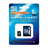 SUPER TALENT microSD 8GB Class4 SD�ϊ��A�_�v�^�t�� 3�N�ۏ� ST08MSC4A