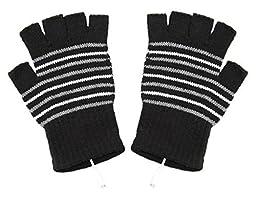 Teensery Stripe Fingerless USB2.0 Laptop Heating Gloves Knitting Wool Winter Warm Hand Warmer Gloves Mittens (black)