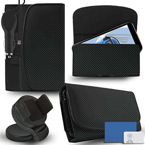 iTALKonline Samsung Galaxy A5 SM-A500G/DS Carbon Fibre / Fiber Black PREMIUM PU Leather horizontal Executive Side Pouch Case Cover Holster with Belt Loop Clip and Magnetic Closure and 1000 mAh Coiled In Car Charger LED Indicator and Overload Protection  available at amazon for Rs.660