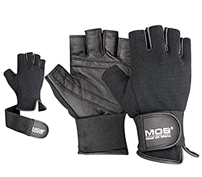 Gym Leather Weight Lifting Padded Gloves Fitness Training Body Building Long Straps by Make or Break