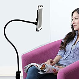 TOPCABIN Lazy Choice Tablet Gooseneck Holder Clip Any Place Stand Black