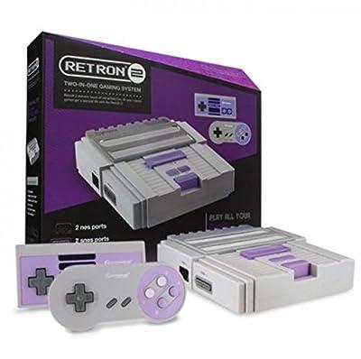 2 In 1 Super Nintendo Games SNES & NES Retro Video Game Twin Console - Grey