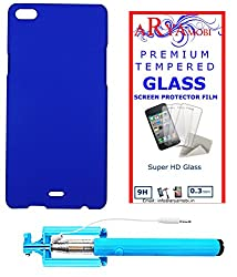 AryaMobi Hard Back Case Cover for Micromax Canvas Silver 5 Q450 - Blue,Tempered Glass, Selfie Stick Aux Port