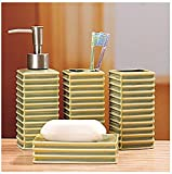 Bathroom Accessory Sets - New style light green striped ceramic composition bathroom four-pieces set / ceramic toiletries suits / bathroom supplies