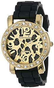 Cerentino Women's CR105-BLK  Black Silicone Rubber Leopard Print Dial Watch