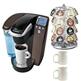 Keurig K75 Platinum Brewing System w/ 12 K-cups & Water Filer Kit B70 (Platinum - Mocha) + Nifty 28 K-Cup Carousel + Accessory Kit