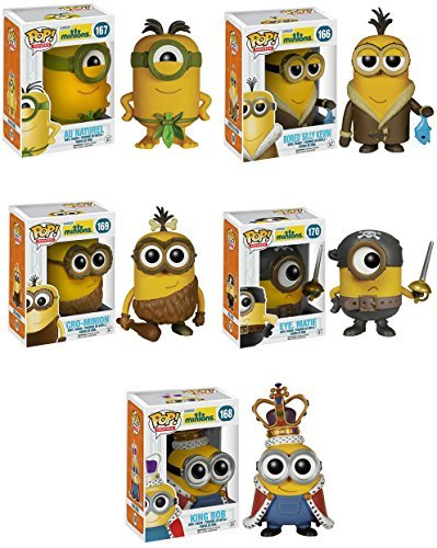 Funko Minions Movie Bored Silly Kevin, Eye Matie, Au Naturel, Cro-Minion and King Bob Pop! Vinyl Figures Set of 5 by Minions Movie