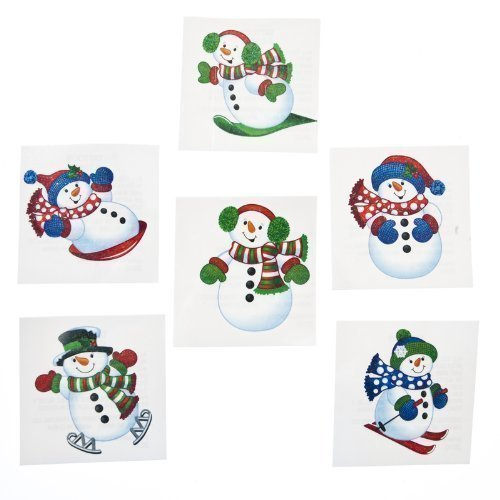72 Holiday Glitter Snowman Temporary Tattoos - 1