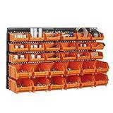 VonHaus 30pc Storage Bin Set with Wall Panel - FREE 2 Year Warranty