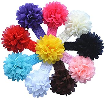 Qandsweet Baby Girl Lace Headbands with Chiffon Hair Bows