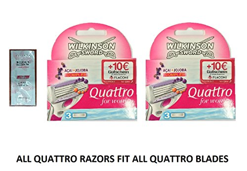 wilkinson-by-schick-quattro-for-women-refill-blade-cartridges-6-count-2-packs-of-3-w-free-loving-car
