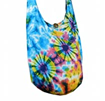 BTP! Tie Dye Sling Crossbody Shoulder Bag Messenger Purse Hippie Hobo Bohemian - Triple Firework VI-1