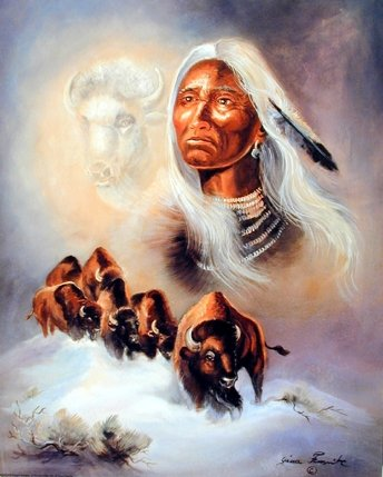 Spirit Of The White Buffalo Gina Femrite Native American Art print Poster (16x20)