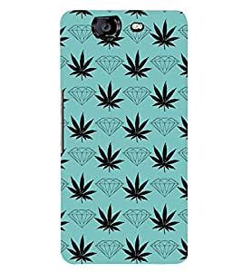 DIAMOND AND FLORAL PATTERN IN A BLUE BACKGROUND 3D Hard Polycarbonate Designer Back Case Cover for Micromax Canvas Knight A350