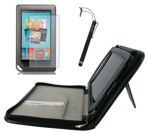rooCASE 3n1 Executive Leather Portfolio (Black) Case Cover with Stand / Capacitive Stylus / Screen Protector for Barnes and Noble NOOKcolor Nook Color eBook Reader (NOT Compatible with NOOK HD)