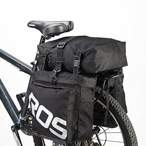 Roswheel 3 in 1 Multifunktions-Outdoor Radfahren Reisenden Pannier Set Wasserdichte Fahrradtasche Doppel-Gepäckträgertasche +Seitentaschen +Top Bag (Schwarz)