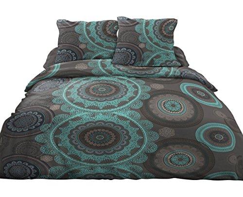 parure drap plat drap housse 140x190 2 taies pur coton 57 fils mandela bleu avis test. Black Bedroom Furniture Sets. Home Design Ideas