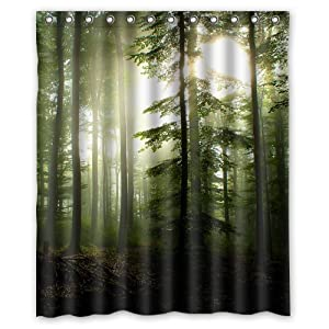 Green Store Green Forest Sunshine Custom Waterproof Polyester Fabric Shower Curtain