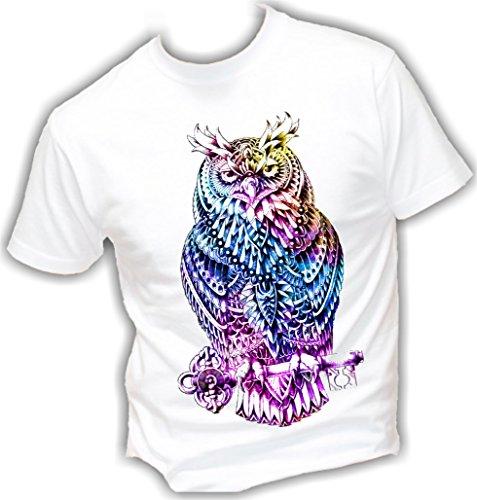 T-shirt UOMO cotone BASIC super vestibilità top qualità - GUFO COLOR HIPSTER novità fashion divertenti humor MADE IN ITALY (L, BIANCO)