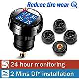 STEELMATE® DIY Wireless Real-time Monitoring TPMS With Large Clear LED Cigarette Lighter Plug Display, 4 External Sensors Didital Guage ( 20-50 Psi )