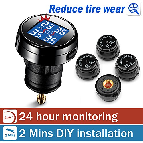 STEELMATE® DIY Wireless Real-time Monitoring TPMS With Large Clear LED Cigarette Lighter Plug Display, 4 External Sensors Digital Tire Pressure Guage ( 20-50 Psi ) (Tire Pressure System compare prices)