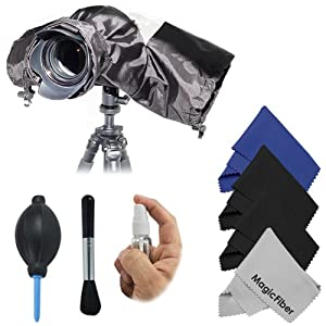 Camera Rain Protector Cover for Large DSLR Cameras (CANON REBEL EOS T3i T2i T1i XT XTi XSi 60D 7D, NIKON D7000 D5100 D5000 D3200 D3000 D90 D80) + Deluxe Cleaning Kit + 4 MagicFiber Microfiber Lens Cleaning Cloths