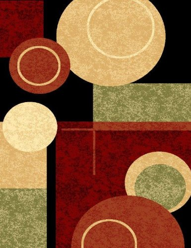 T1010 Black Cream Green 5'2x7'2 Rust Burgundy Abstract Area Rug Carpet