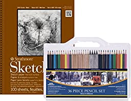 VALUE PACK!! - Strathmore Series 400 Sketch Pads 9 in. x 12 in. pad of 100 and 36-Piece Artist Pencil Set