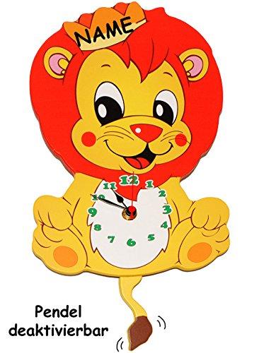 Wanduhr Uhr Holz Kinder Kinderzimmer Kinderuhr ~ Wanduhr  Uhr aus Holz    süßer Löwe mit Krone    incl Name  36