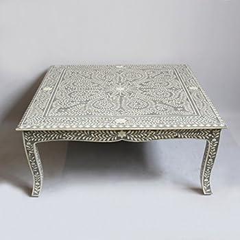 Grey Bone Inlay Modern Antique Handmade Coffee Table