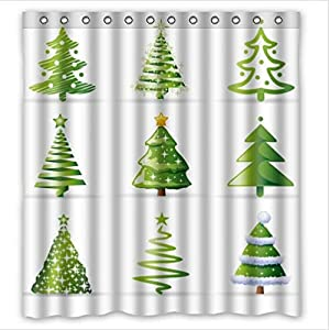 Christmas tree waterproof bathroom fabric for Bathroom decor on amazon