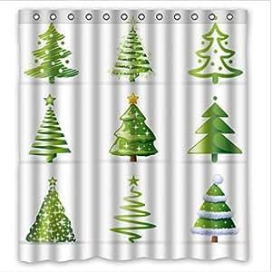 Christmas tree waterproof bathroom fabric for Bathroom decor amazon