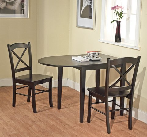 Country Cottage Black Wooden Drop Leaf Dining Room or Kitchen Table