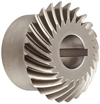 Boston Gear HLSK-R Series Spiral Miter Gear, 1:1 Ratio, 20 Degree Pressure Angle, 35 Degree Spiral Angle, Keyway, Steel with Hardened Teeth, Right Hand
